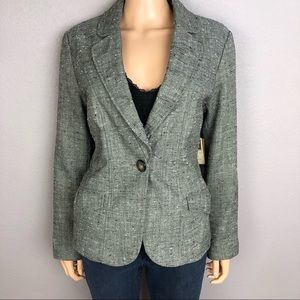 Coldwater Creek Herringbone Gray Blazer